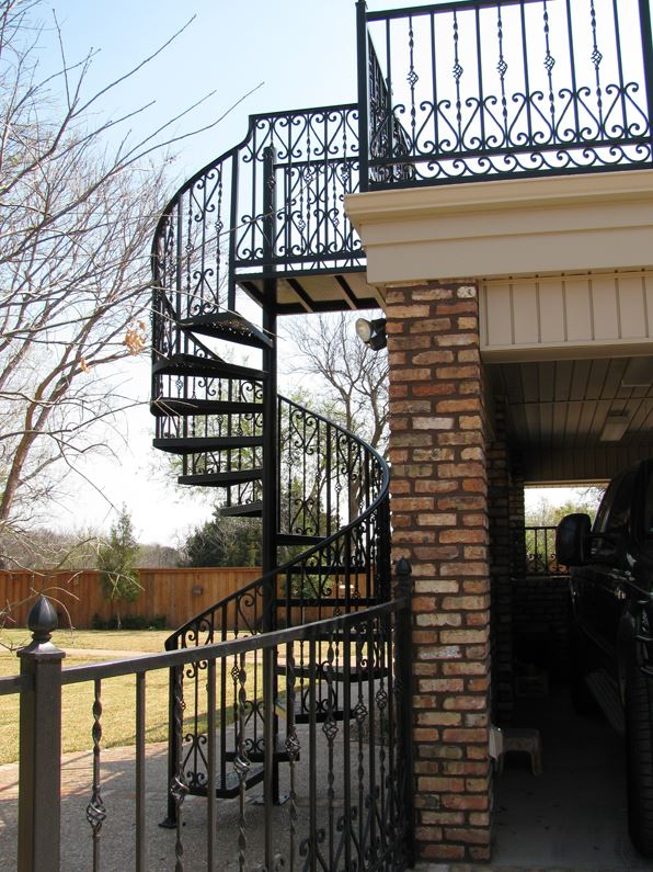 A custom iron spiral staircase.
